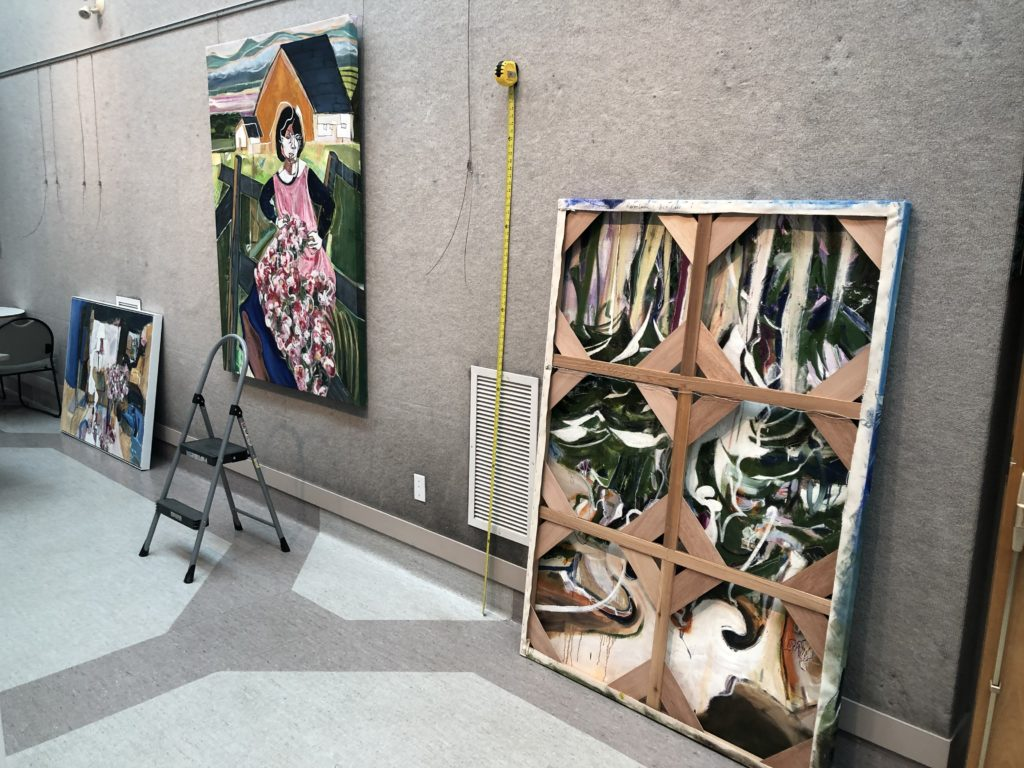 work in progress of marlene lowden exhibition going up